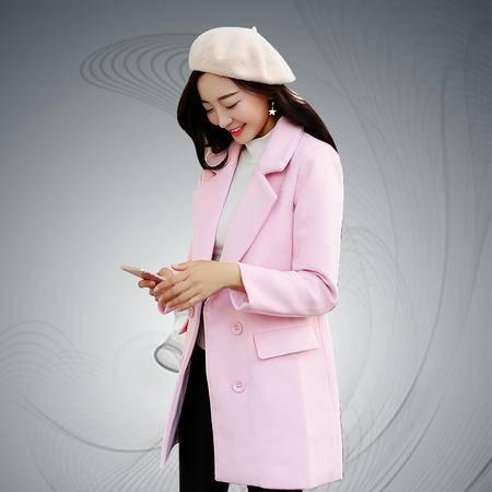 缔五季 5069 纯色羊毛呢长款韩版修身时尚毛呢外套