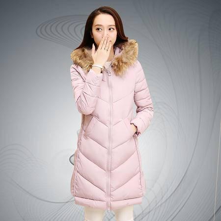 缔五季 007 纯色真毛领中长款时尚休闲棉衣外套