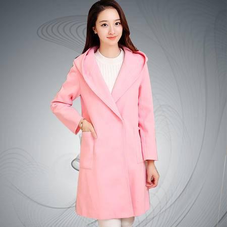 缔五季 5066 韩版中长款连帽羊毛呢子大衣毛呢外套
