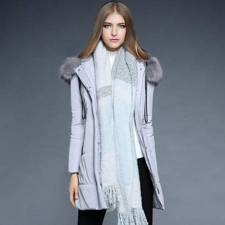 薇语馨 1871加厚夹棉保暖可拆狐狸毛领中长款棉衣外套