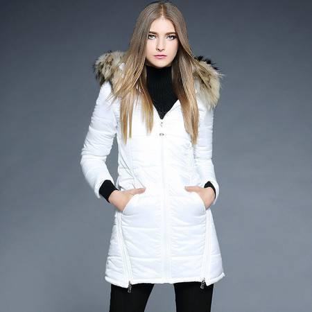 薇语馨 1873加厚夹棉保暖可拆卸貉子毛领棉衣外套