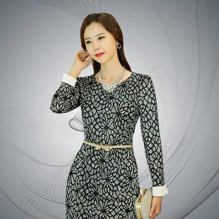 薇语馨 7097 韩版蕾丝圆领长袖包臀连衣裙