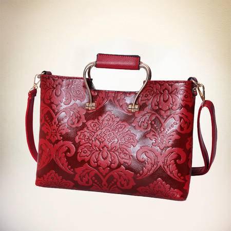 GLOBAL FREEMAN MH--110# 复古中国风新娘包结婚包红色包包妈妈包牛皮枕头包印花
