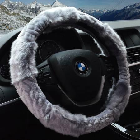 Racing温暖毛绒方向盘套 冬季保暖把套 无臭环保方向盘套 立体毛绒