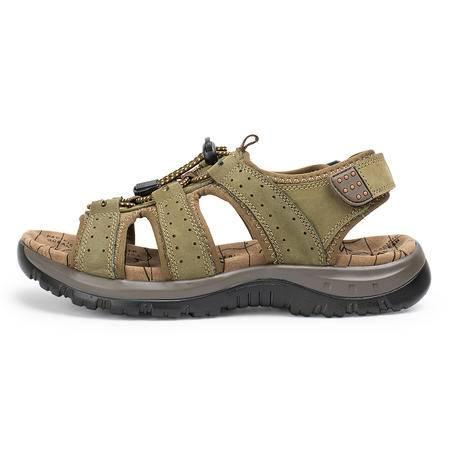夏季新款凉鞋男士沙滩鞋牛皮凉鞋透气男鞋露趾时尚韩版潮鞋子