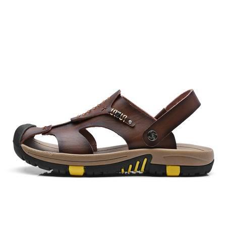 夏季新款凉鞋男 夏季新款男士凉鞋皮凉鞋男鞋一字拖沙滩鞋