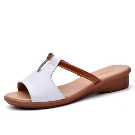 2016夏季女士新款凉拖鞋女货到付款厚底凉拖休闲一字拖平底