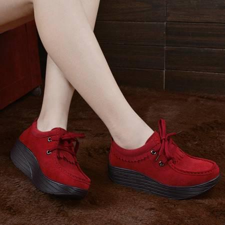 夏季摇摇鞋女鞋 透气瘦身网面运动鞋增高鞋休闲跑步运动鞋学生鞋坡跟厚底广场舞鞋