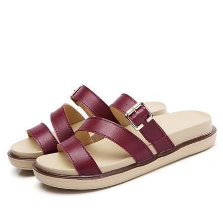 露趾凉鞋拼色厚底女凉鞋坡跟防水台女鞋子