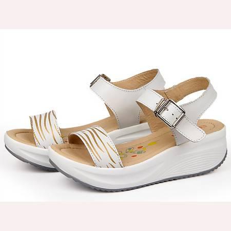 2016夏季新款松糕跟坡跟女凉鞋中跟厚底平底防水台罗马女鞋