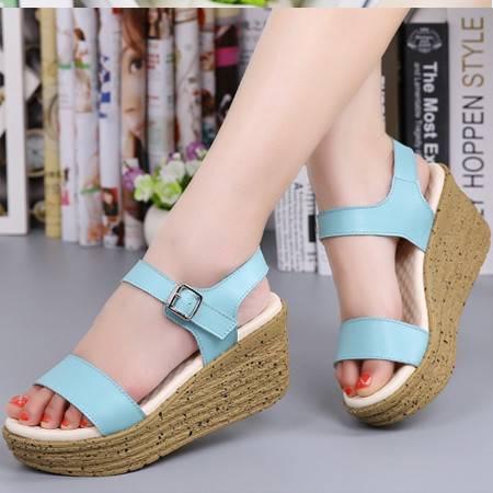2016夏季新款时尚坡跟夹脚凉鞋女夹趾学生凉鞋