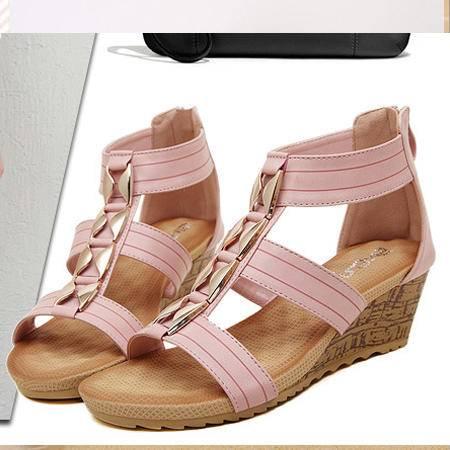 欧洲站2016欧美新款 女凉鞋外贸大码拉链坡跟女鞋