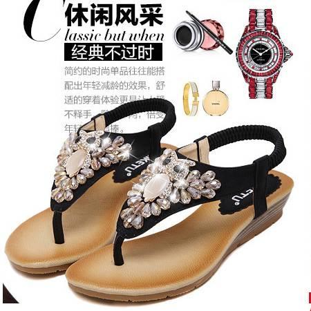 2016新款夏季 凉鞋水钻坡跟时尚欧美外贸大码女鞋