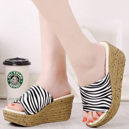 2016夏季新款时尚坡跟凉拖女学生凉鞋金链条罗马鞋女鞋潮