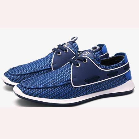 夏季透气网鞋男士网布鞋英伦时尚休闲系带懒人运动板鞋潮鞋子