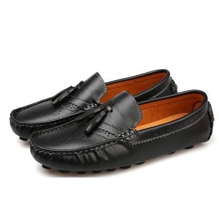 新品时尚休闲鞋潮男鞋男士皮鞋头层超软牛皮豆豆鞋