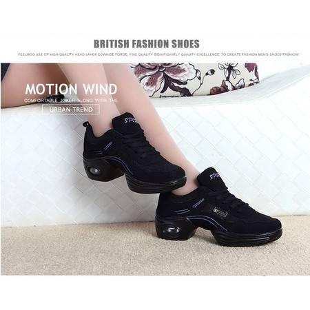 夏季软底增高广场舞蹈鞋女现代舞单网面透气健身舞鞋跳舞鞋