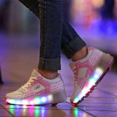 暴走鞋 亲子滑轮鞋 带灯鞋网面透气休闲夜光鞋