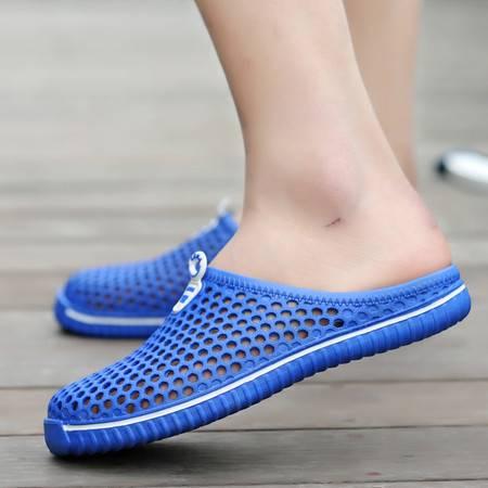 2016新款包邮情侣男女洞洞拖鞋塑料网面包头拖鞋鸟巢防滑凉鞋