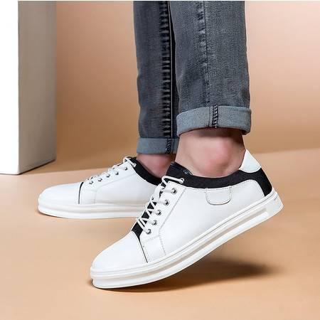 休闲皮鞋透气板鞋英伦真皮男鞋系带休闲鞋男