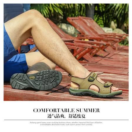 男鞋凉鞋2016新款沙滩鞋子男士透气夏季真皮露趾凉鞋