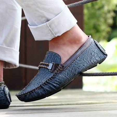 男鞋夏季男士豆豆鞋男真皮鳄鱼纹休闲皮鞋男英伦套脚鞋子 男