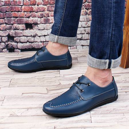 皮鞋男商务休闲皮鞋单鞋透气缕空凉鞋洞洞鞋