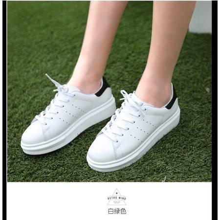 真皮小白鞋男女情侣系带单鞋平底白色休闲鞋