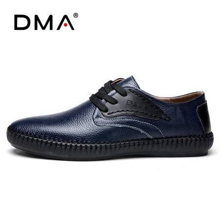 夏季新款皮鞋男真皮圆头青年日常休闲鞋男士英伦商务透气软面鞋子
