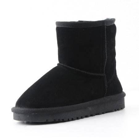 正品 头层磨砂牛皮 雪地靴  短筒 棉鞋