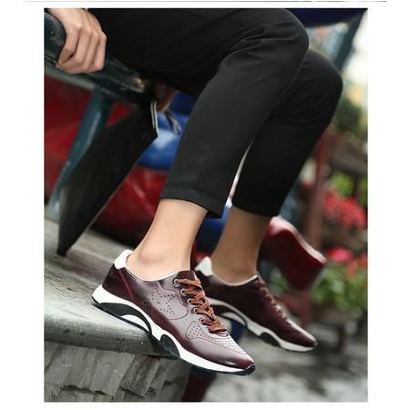 日常休闲皮鞋男士英伦鞋系带真皮流行男鞋透气鞋男单鞋