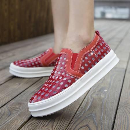 夏季透气镂空网鞋休闲鞋小白鞋女平底平跟乐福鞋懒人运动鞋