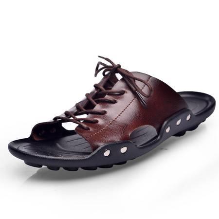 夏季凉鞋男沙滩鞋男士皮凉鞋青春潮流夹趾休闲拖鞋男