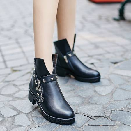 真皮女靴子低跟单靴平底裸靴学生短靴英伦女鞋春秋马丁靴潮