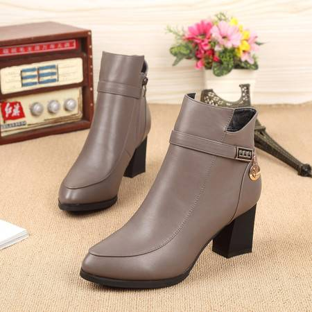 春秋新款全真皮马丁靴潮女短靴粗跟中跟机车靴单靴子