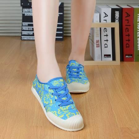  夏季花纹校园帆布鞋女系带低帮厚底女鞋休闲单鞋2016夏季休闲女鞋