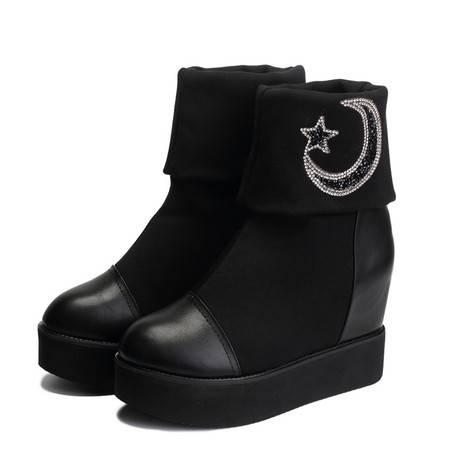 真皮女靴新款韩版长筒高筒马丁靴女粗跟可折叠