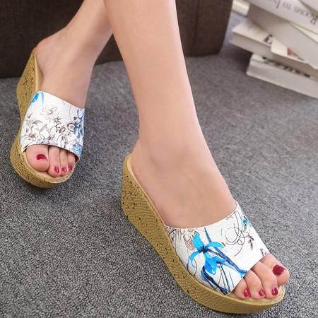 中国风水墨画优雅气质款真皮舒适休闲款厚底女鞋拖鞋