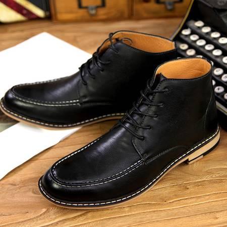 男鞋夏季韩版英伦尖头内增高高帮鞋男休闲皮鞋男马丁靴潮靴
