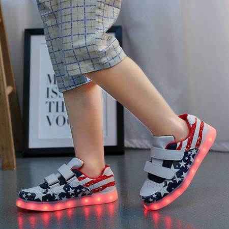 韩版款儿童发光鞋usb充电男童鞋亮灯鞋女童鞋夜光鞋led七彩闪光鞋