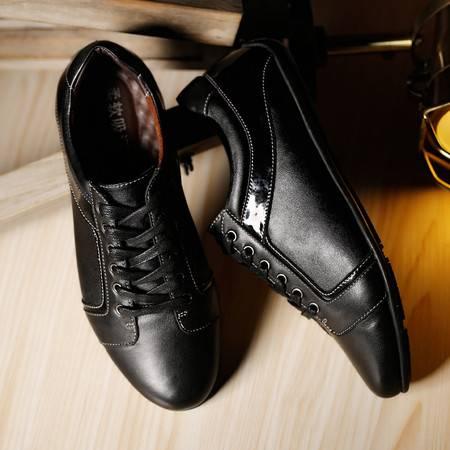 男鞋夏季新款2016男士商务休闲皮鞋英伦青年正装透气鞋子黑
