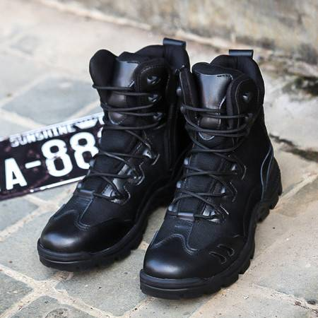 高帮帆布军靴作战靴战术靴训练鞋高腰作训鞋