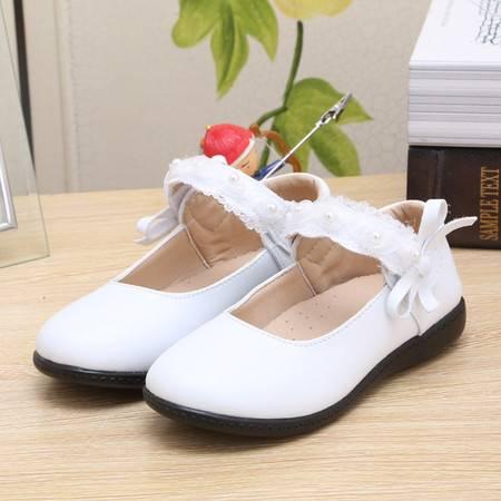 2016春秋新白色女童皮鞋蝴蝶结公主鞋