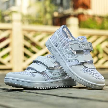 白色童鞋男童休闲鞋小男孩网面运动鞋中童镂空透气单层网眼跑步鞋