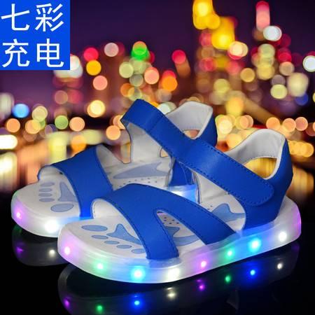 儿童同款发光充电真皮baby雪梨发光鞋凉鞋