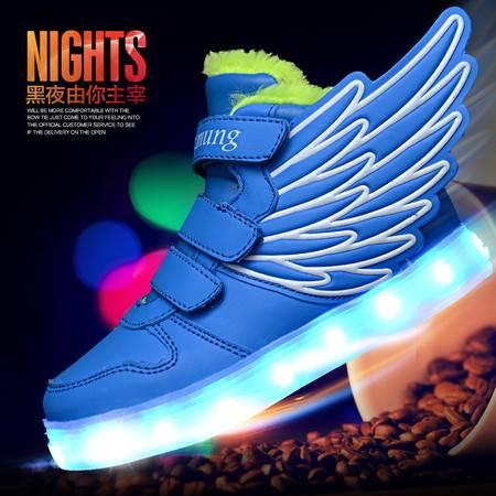 儿童充电USB发光鞋LED亮灯夜光灯闪光灯童鞋
