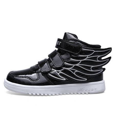 季新款男女童鞋韩版潮儿童运动鞋板鞋带翅膀鞋子高邦鞋子