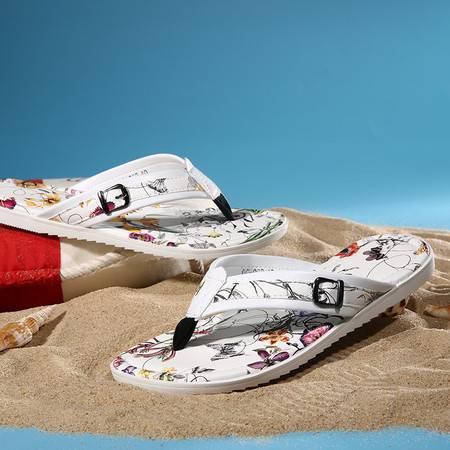 男 夏季潮流平底拼色花色凉拖鞋 夹脚轻便耐磨鞋夏季款真皮人字拖