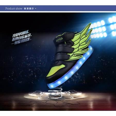 儿童LED发光鞋男女童亮灯夜光鞋带灯运动鞋