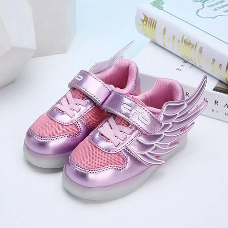 儿童男童led发光鞋女童鞋带翅膀休闲潮网布鞋